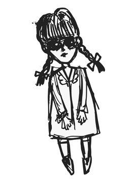 Vector illustration of strange doll