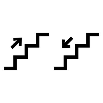 Stairs up and stairs down symbol set. Stairs icon upward, downward, isolated vector illustration set.