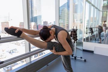 Flexible female ballerina stretching leg at ballerina barre in dance s