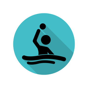 Water polo long shadow icon. Simple glyph, flat vector of arrow icons for ui and ux, website or mobile application