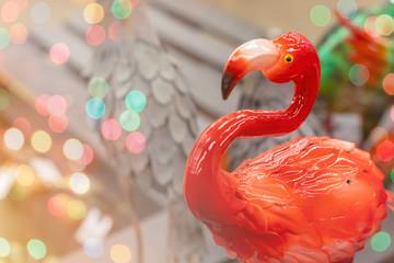 Foto op Canvas Flamingo Colorful decorative ceramic flamingo close up with copyspace