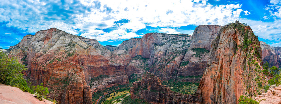 angels landing trail in zion national park in summer, panoramic picture