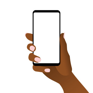 African woman hand holding black smartphone. Modern cellular phone with blank white touch screen in female arm. Concept of using mobile gadget by afro-american women. Flat vector illustration in EPS8.