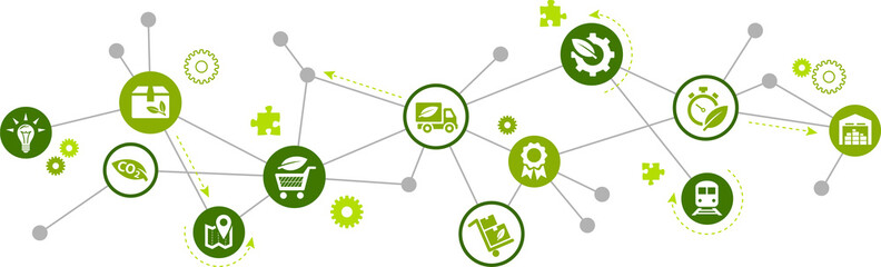 green supply chain vector illustration. Concept with connected icons related to sustainable logistics, environmentally friendly transport of goods, and co2 reduction. Wall mural