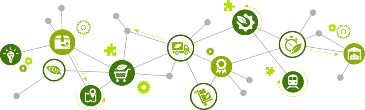 green supply chain vector illustration. Concept with connected icons related to sustainable logistics, environmentally friendly transport of goods, and co2 reduction.