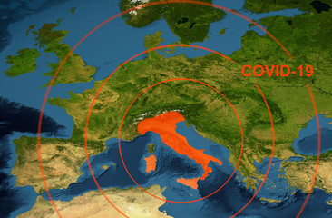 COVID-19 in Italy on Europe map. Coronavirus world pandemic concept.