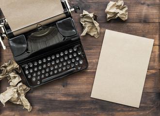 Antique typewriter paper notebook Creativity concept