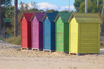 Casetas de colores en la playa Wall mural