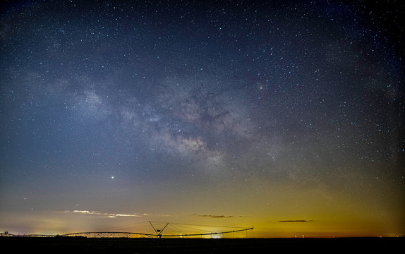 Milky Way over a farm with irrigation system in Port St. Lucie, Florida.