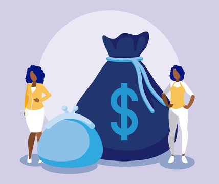 Corporate businesswomen with money bag and purse vector design