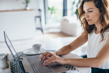 Portrait of a young woman looking at laptop