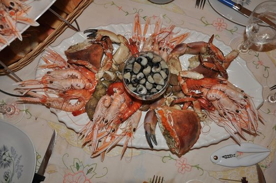 Beautiful fresh seafood tray in Brittany