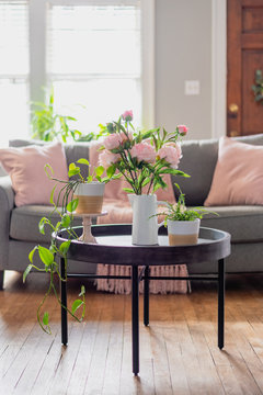 Light and bright home interior with pink accents for Spring