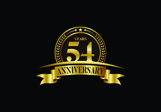 54th years anniversary logo template, vector design birthday celebration, Golden anniversary emblem with ribbon. Design for a booklet, leaflet, magazine, brochure, poster, web, invitation or greeting