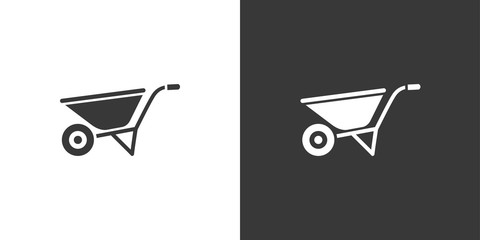 Wheelbarrow. Isolated icon on black and white background. Gardening vector illustration