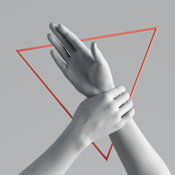 3d render human mannequin body parts white artificial female hands isolated on plain background. Red geometric triangular shape. Feminist protest metaphor. Modern minimal fashion, social issue concept
