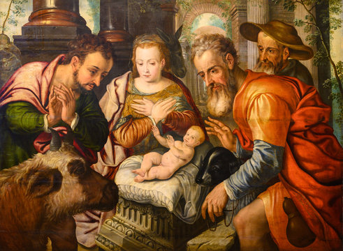 "Vienna, Austria. 2019/10/23. ""Adoration of the Shepherds"" (around 1560/70) from the Netherlands. Kunsthistorisches Museum (Art History Museum) in Vienna."