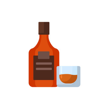 whiskey bottle with glass flat vector illustration