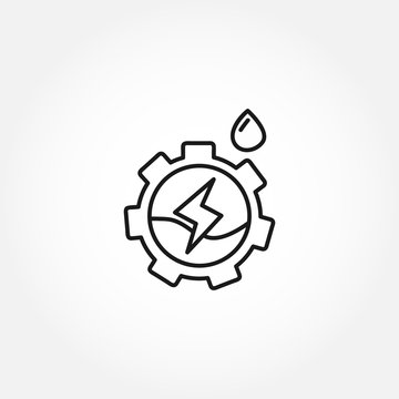 Gear wheel with water as logo. hydroelectric power line icon