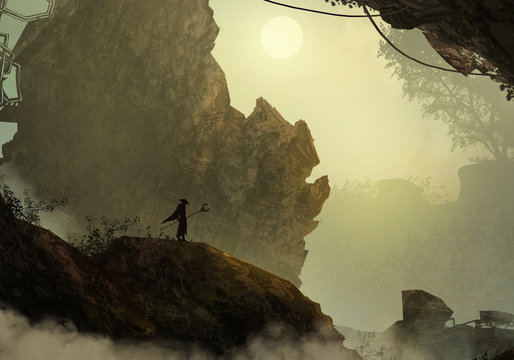 Artistic 3d illustration of a messenger figure on top of a hill
