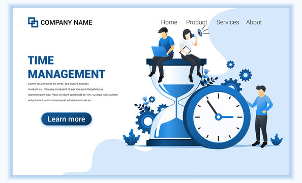 Modern flat web page design concept of time management with people work near big clock and hourglass. Flat landing page template. vector illustration