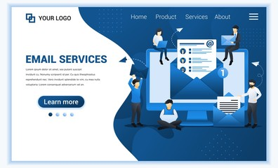 Landing page template of Email marketing, mailing services with people work on device. Modern flat web page design concept for website and mobile website. Vector illustration Wall mural