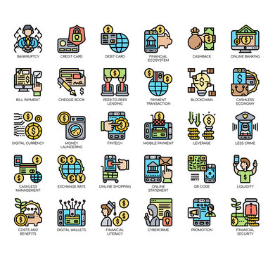 Set of cashless society thin line and pixel perfect icons for any web and app project.