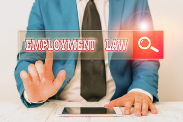 Word writing text Employment Law. Business photo showcasing deals with legal rights and duties of employers and employees