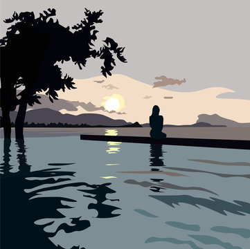 Vector stock illustration of the beach. Postcard about the journey of the travelers and the sea. At sunset, the silhouette of a girl is sitting looking into the distance over the horizon. Admires the
