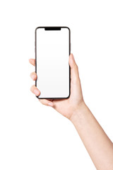 Woman hand hold a smartphone, empty screen side isolated on white.