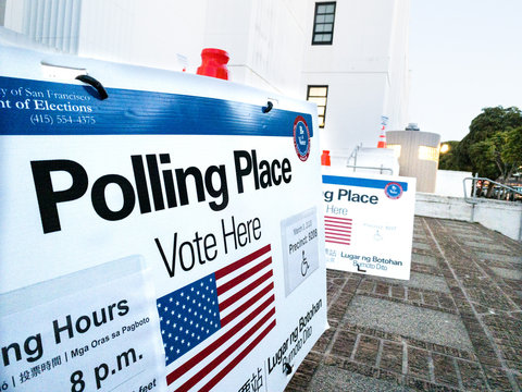 Polling Place Voting Sign on Super Tuesday 2020 Primary Election in San Francisco California on March 3, 2020