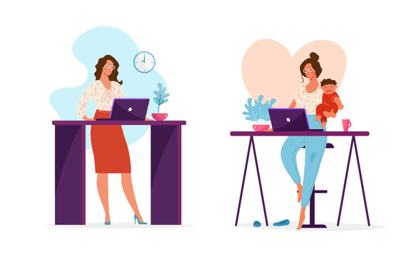 Set of illustrations, a woman works in the office or at a remote work at home holding a child in her arms. The concept of choosing a career or family, combining work and family. Cute female vector
