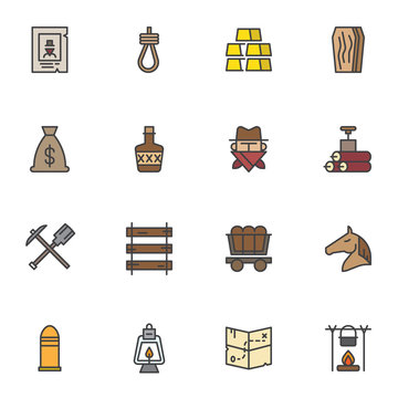 Cowboy, Wild west filled outline icons set, line vector symbol collection, linear colorful pictogram pack. Signs, logo illustration, Set includes icons as horse, wheelbarrow, money bag, dynamite, gold