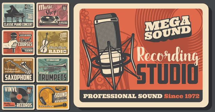 Music concert and musical instruments shop vintage retro posters. Vector sound recording studio, jazz band festival and folk music fest, DJ sound equipment and vinyl records store