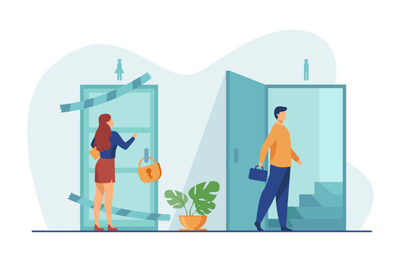 Woman knocking to locked and closed door flat vector illustration. Man entering open door and walking up stairs. Inequality in career, business opportunities. Social problem and discrimination concept