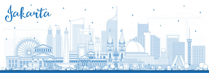 Outline Jakarta Indonesia City Skyline with Blue Buildings. Papier Peint