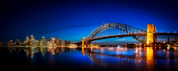 Aluminium Prints Sydney Panorama of Sydney with Harbor Bridge