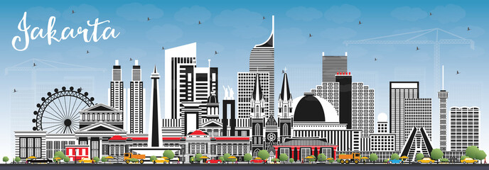Jakarta Indonesia City Skyline with Gray Buildings and Blue Sky. Papier Peint