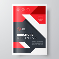 Flyer business flyer size A4 template, creative leaflet red color
