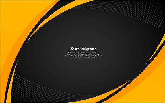 Abstract sport background with yellow shape and white stripes