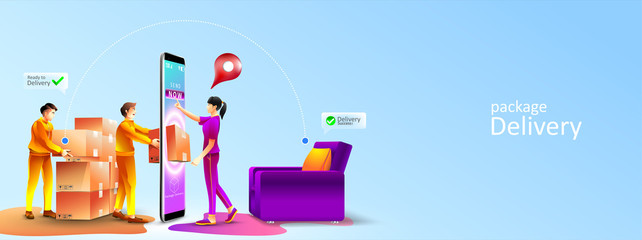 Fast online delivery service package to living room at home by courier. Women receive a package appear from screen phone by courier at home. Vector illustration