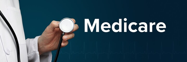 Medicare. Doctor in smock holds stethoscope. The word Medicare is next to it. Symbol of medicine, illness, health - fototapety na wymiar