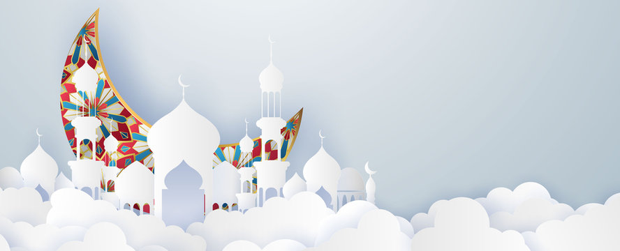 Ramadan kareem 2020 background. Paper cut vector illustration with mosque and moon, place for text greeting card and banner