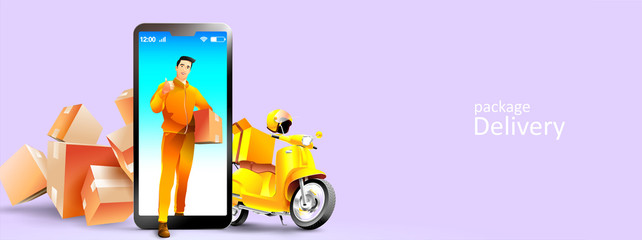 Foto op Plexiglas Purper Online delivery services courier and scooter by mobile phone or smartphone. Vector illustration
