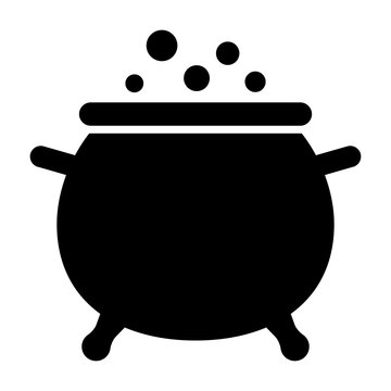 Cauldron / caldron cooking pot with bubbles flat vector icon for games and websites