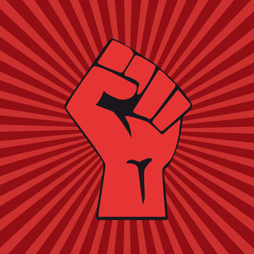 Vector raised hand.Concept of revolution or protest. Closed fist on red background