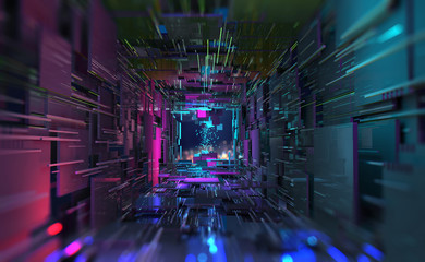Virtual Data Center. Digital streams and future technology. Deep machine learning 3D  illustration. Flight in quantum cyberspace Fotobehang