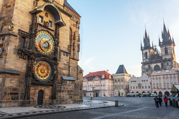Wall Murals Prague Astronomical clock in Old Town of Prague with Tyn church.