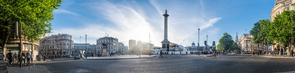 Panoramic view of the Trafalgar Square in London