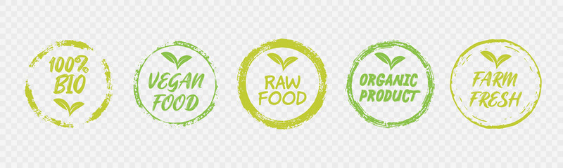 Vegan Healthy Ecology Bio Emblem Logo Design Lettering Badges with Fresh Green Leaves and Grunge Circles Icon Label Sticker Design
